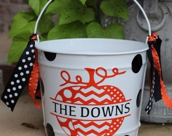 10 Quart Personalized Halloween Bucket for Candy