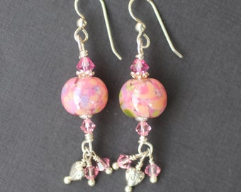 Lampwork Bead Earrings, Lampwork Bead Jewelry, Handmade Pink Lampwork Beads, Heart Charm, Sterling Silver Leverback