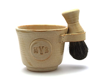Monogrammed Shaving Set With Black Badger Shave Brush and Shave Soap Made To Order in 4 to 6 Weeks