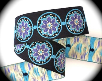 """Ribbon, 1"""" x 3 yards  """"Labelle"""" in Navy, Turquoise and Periwinkle - Labellex52a - Woven Jacquard Ribbon"""