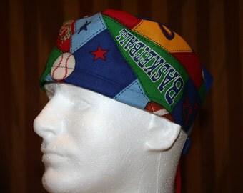 SALE--Men's Tie Back OR Scrub Hat with SWEAT Band/Mens Scrub hat/Scrub caps--Sports Fan