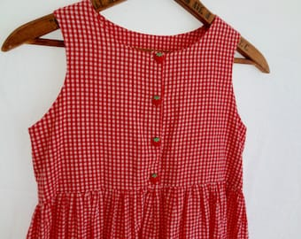 Vintage 80s Girl Dress Gingham Red and White Checkers with Strawberry Buttons