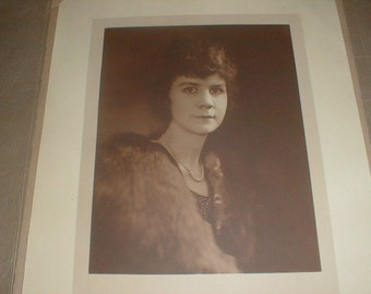 Large Antique Portrait/Photo Young Lady In Furs & Pearl Necklace *Sepia Tones*