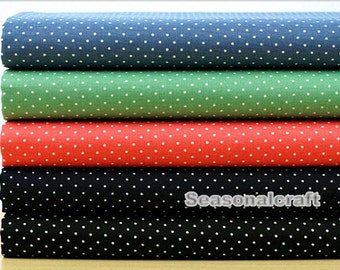 Spring Summer Cotton Fabric for craft, Stretch,1mm Polka Dotted Pattern,5 Colors for choice,Garment Clothing Cotton Fabric 1/2 Yard (QT574)