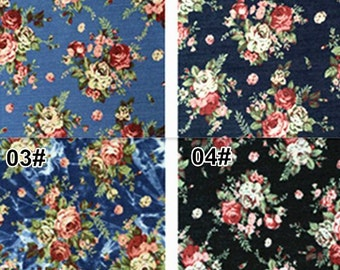 Denim Cotton Fabric for craft, Stretch Fabric, Retro Floral Texture,4 Colors for choice,diy 1/2 yard (QT572)
