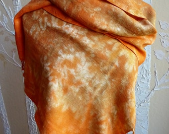 Hand Dyed Handwoven Rayon Challis Scarf in Bright Autumn Colors of Deep Orange, Warm Sand, Gold, Soft Rust