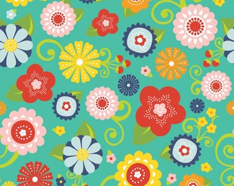 Riley Blake Cotton fabric by the yard... Lazy Main Teal