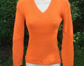 Orange Knitted V-Neck Jumper