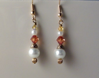 White Swarovski Crystal pearl and Rosaline Crystal on Gold