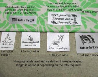 100 +15Free Custom Satin Labels - Hanging or Flat Sew Around  ~