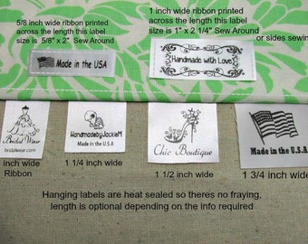 80 Custom Satin Labels - Hanging or Flat Sew Around  ~