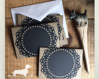 CLEARANCE! Black Lace. Note Cards (Set of 4) -- (Vintage-Style, Shabby Chic, Rustic, Baby Shower, Thank You, Chalk, Die Cut, Bridal Shower)