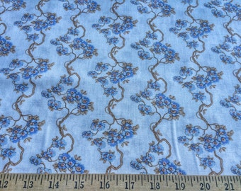 """Cherry Blossoms  Ivory/Blue by Angela Parish for P&B Textiles 100% cotton quilting fabric.44"""" wide.Sold by the yard"""