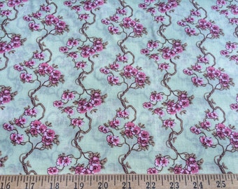 "Cherry Blossoms Light Green by Angela Parish for P&B Textiles 100% cotton quilting fabric.44"" wide."