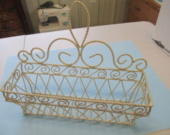 Vintage shabby chic twisted wire plant hanger used fair condition