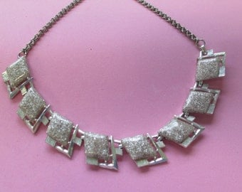 """Necklace Vintage silver glittered molded diamond shapes and metal link Style Choker necklace 17"""" silver toned no markings"""