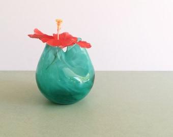 Blenko Pinch Vase / Blenko Sea Green and White Ribbon Pinch Vase / Pinched Ivy Vase