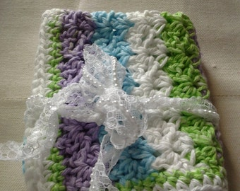 Multi colored Hand Crochet Wash Cloth with Ribbon tie.