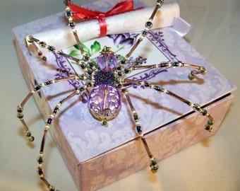 Christmas Spider Lavender Crystalline  Beaded German  Ornamental Tree Decoration
