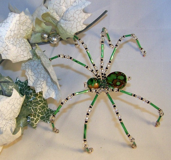 items similar to christmas spider green coin beaded german ornamental tree decoration on etsy. Black Bedroom Furniture Sets. Home Design Ideas
