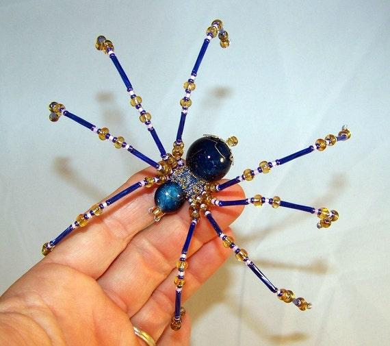 christmas spider blue gold vein beaded german ornamental. Black Bedroom Furniture Sets. Home Design Ideas