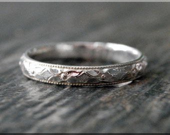 Floral Sterling Silver Ring, Sterling Silver Stacking Ring, Silver floral Pattern Ring, Sterling Silver Wedding Ring, Sterling Silver Band