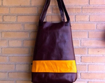 Handmade TOTE bag made from recycled leather