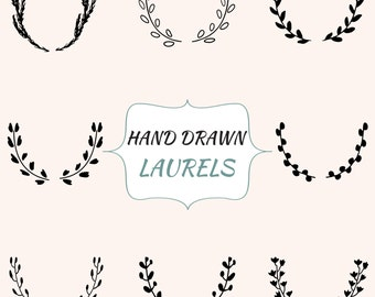 Vector Laurels, Laurel Clipart, Laurels Digital, Hand Drawn Clipart, Wreath Clipart, Vector Wreath, Hand Drawn Laurels, Wedding Laurel