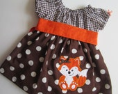 fall fox peasant dress for baby/ toddler / girls/ brown, orange, white dress/ pumpkin patch/ brown and white polka dot/ brown houndstooth