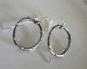 Pinned Hoop Earrings - Rustic style earrings