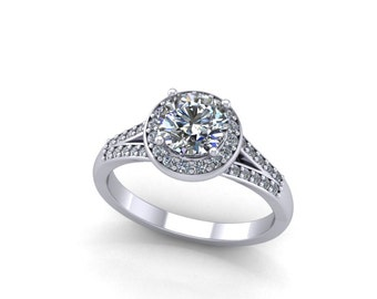 diamond halo engagement ring,moissanite center engagement ring,style 71WDM