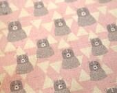 Kokka cute bear linen fabric in pink. Japanese linen fabric, kokka fabric, small animal print fabric, fat quarter