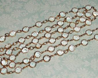 Vintage Classic Austrian Swarovski CRYSTAL Clear Bezel Link Chain Necklace
