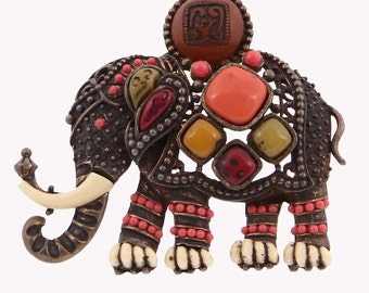 Hattie Carnegie Egyptian Series Jeweled Elephant Brooch