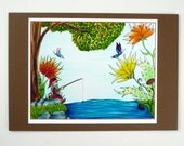 Mini Print- colorful gnome fishing, ink jet print with 4.5 x 6.5 card stock backing.