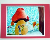 Colorful print of one of my drawings, gnome girl with mouse mushroom, and flowers.
