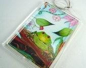Art key chain, frog art, photo keychain, frog key chain