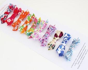 10 Bow crocodile hair clip fabric Liberty - IN STOCK -