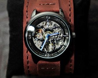 Skeleton Watch, Automatic Watch, Valentines Gift, Personalized Watch, Groom Gift, Gift For Him, Gift For Her, Unisex, SALE, GEML-SD04