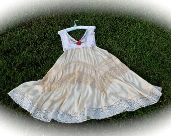 Boho Rustic Swamp Ophelia Babydoll Jumper Dress Gypsy Style  Rodeo Sweetheart Cowgirl  Shabbyl Chic