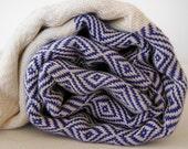 Chevron Pattern Turkish Towel Peshtemal towel in ivory Denim Blue color Cotton Woven soft