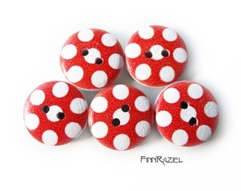 8 small red wooden buttons white dotted ø 15 mm buttons for kids and kids clothes
