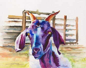 kitchen art, goat art, goat, animal art, goat print, goat watercolor, watercolor, goat canvas, purple,