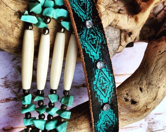 Black Leather Bracelet with Crystal Rivets and Turquoise design
