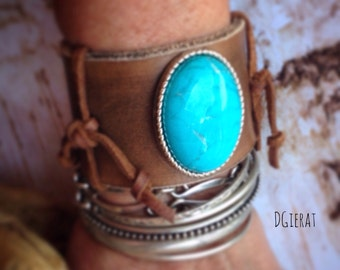Leather Cuff, Leather Bracelet, Turquoise Jewelry, Turquoise Cuff, Leather