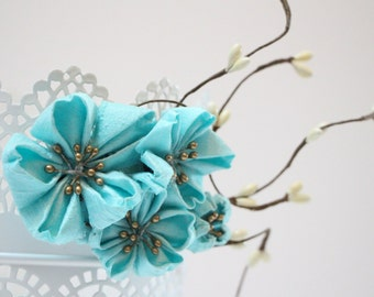 ON SALE - Cherry blossom hair accessories - Aqua  Blue kanzashi   flower hair clip - Bridal Hair - light blue SAKURA