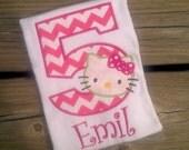 Hello Kitty birthday SHIRT custom monogram Personalized applique boutique girls