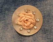 Mother of Pearl Rhinestone Rose Pin Brooch Vintage Jewelry, Gift for Her