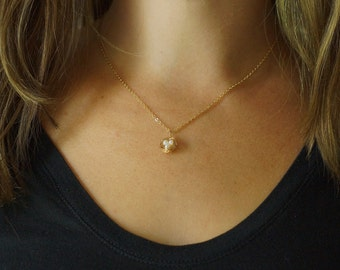 Petite Gold Bird Nest Necklace with Freshwater Pearl Eggs