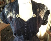 Indigo blue lace 1950s dress with snowflakes